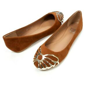Women Tan Brown Flat Shoes Round Toe Classic Suede Ballet Flats Casual Size 5-9