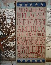 4th Fourth July Independence Day America Pledge of Allegiance Sign Decoration