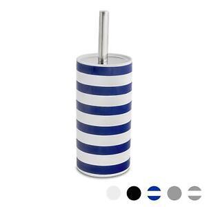 Bathroom Toilet Brush & Standing Holder Ceramic Cleaning Set - Blue Stripe