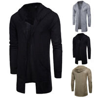 Men's Long Sleeve Hoodie Casual Sweater Hooded Gothic Punk Cardigan Outwear Coat