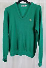 Vtg Lacoste Mens Sweater  Gator Green V Neck Long Sleeve Pullover Size Large