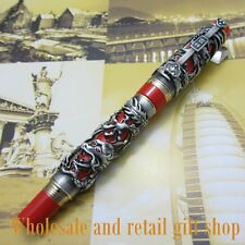Jinhao Dragon Phoenix Heavy Gray Red Chinese Classical Luck Clip Fountain Pen