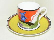 Wedgwood Bone China Clarice CLIFF bizzarra Ltd Coppa & Piattino MULINO A VENTO CAFE Chic
