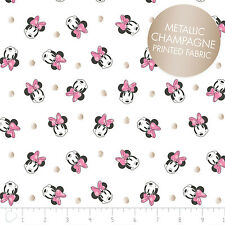 Disney Minnie Face Dot in White Metallic Camelot 100% cotton fabric by the yard