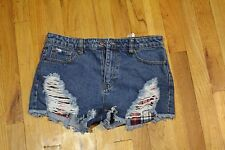 FOREVER 21 DESTROYED DENIM SHORTS WITH RED PLAID POCKET SIZE 30 WAIST NEW