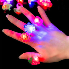 10PC LED Flashing Glow in Dark Finger Rings Party Favor Toys Kids Gift Creative