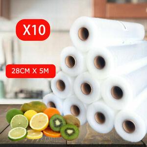 10 X Vacuum Food Sealer Rolls Saver Seal Bag Food Storage Bags Commercial 28Cmx5