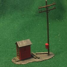 Vintage Model Train HO Scale Model Train Rail Side Building with Light Pole