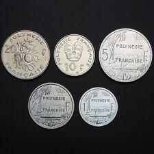 French Polynesia Set 5 Coins, 1 2 5 10 20 Francs, 2008-2009, UNC