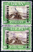 SOUTH WEST AFRICA SWA 1940 10s PAIR INKOMSTE UP AT LEFT REVENUE FISCAL TAX DUTY