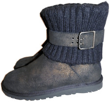 UGG Australia Cambridge Metallic Black Suede Boot Belted & Knit Booties 6 SALE