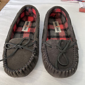 D1 Women's Gray Grey Suede Leather MINNETONKA  Moccasins Slippers 40189 Size 7