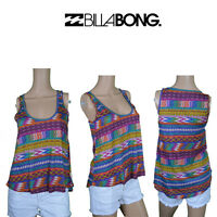 Billabong Womens Sleeveless Tank Top Muscle Retro Print Surf Brand Summer BB1.3