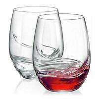Set of 6 Large Stemless Turbulence Vintage Red Wine Crystal Glasses 500ml Glass