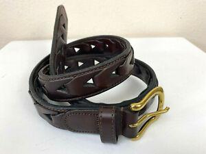 "Thick Braid Dark Brown Leather Belt Men's 34"" x1"" Square Gold Buckle Adjustable"
