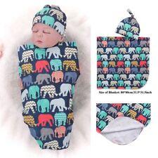 2Pcs Muslin Wrap Elephant Printed Sleeping Swaddle Baby Swaddle Blanket Sets