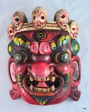 Red Handcarved Bhairab Hindu Protect Deity Wood Mask - Handmade in Nepal