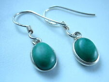 Small Malachite with Faint Markings 925 Sterling Silver Dangle Earrings