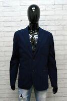 Guess Giacca in Cotone Uomo Taglia XL Cappotto Blazer Blu Ufficio Jacket Man