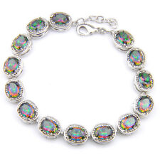 2018 New Arrival Jewelry Natural Rainbow Mystic Topaz Silver Charming Bracelets