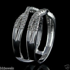 Solitaire Engagement Ring Enhancer 0.35 ct Diamonds Guard Wrap in 10k White Gold