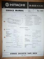 Service Manual pour Hitachi D-555 Platine Cassette ORIGINAL