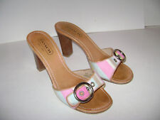 COACH Diedre A8015 LEATHER Size 6 B PINK SHOES SANDALS WOMAN SLIDES HEELS ITALY