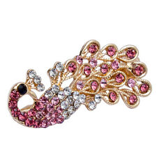 Pink Women Stylish Vintage Crystal Rhinestone Peacock Hair Barrette Clip Hairpin