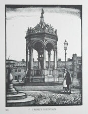 TRINITY FOUNTAIN CAMBRIDGE COLLEGE LTD WOODCUT PRINT / WOOD ETCHING - GREENWOOD