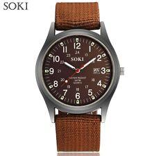 Men's 2018 SOKI Military Army Canvas Calendar Analog Quartz Sports Wrist Watches