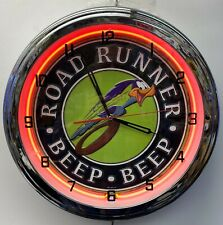 "16"" Plymouth Road Runner Beep Beep Sign Orange Neon Clock Mopar Roadrunner"