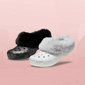 Classic Crocs Fluffy Mammoth Luxe Metallic Leopard Clog (Black or White)