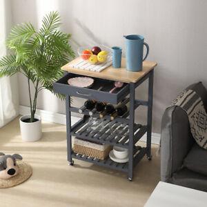 Küchenwagen Servierwagen Rollwagen Küchentrolley 3 Etage+Schublade Regel Holz DE