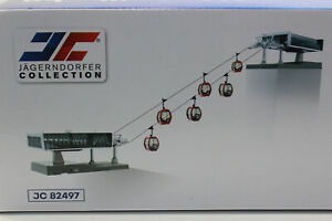 Jägerndorfer 82497 Seilbahn D Line Set weiß grau + 6 Gondeln H0 1:87 NEU OVP