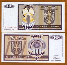 Bosnia, 10 Dinara, 1992, P-133, Aa-Prefix, Unc