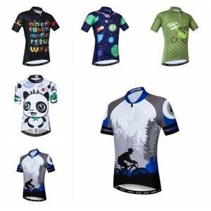 Cycling Jersey Kids Bike Short Sleeve T-Shirt Boys Girls Cartoon Tops Clothing