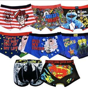 MENS NOVELTY CHARACTER SUPER HERO BOXER SHORTS UNDERWEAR 100% OFFICAL *2 PAIRS*