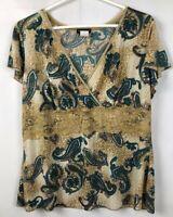 Women's Perseption Multi-Color Paisley Short Sleeve Knit Top Lace V Neck Size 2X