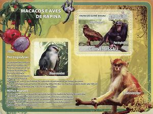 Guinea-Bissau Wild Animals & Birds of Prey on Stamps 2008 MNH Monkeys 1v S/S