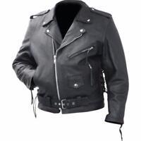Blouson jacket style Perfecto en Cuir de vachette { M L XL XXL XXXL } bikers pun