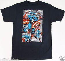 CAPTAIN AMERICA Superhero T-shirt Avengers Marvel Comics Tee Adult XL Navy New