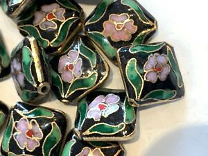 39 Vintage Square Cloisonne Beads - Black w/ Floral & Gold Trim  14mm - LAST LOT