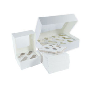 Windowed Cupcake Boxes for 4, 6, & 12 Cup Cakes with Removable Trays