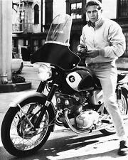 STEVE MCQUEEN CLASSIC COOL 8X10 PHOTO HONDA MOTORBIKE