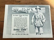 More details for 1917 paper advert ! army club cigarettes - the captain in india