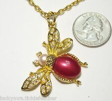 Bee/Flying Insect Pendant Necklace, w/Burgandy Red/Maroon Cab, Faux Pearl & RS