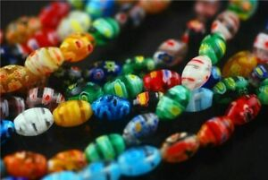 Charms 50pcs New Oval Colorized Millefiori Loose Beads Spacer Jewelry Findings#