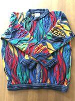 Vintage 80s 90s NEON COOGI Australia BIGGIE-MCGREGOR sweater FIRE 3D textured