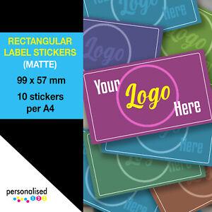 Large Rectangular Logo Stickers 99x57mm Custom Personalised Rectangle Labels