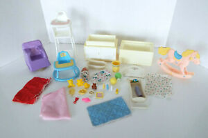 Vintage Barbie Dream House Baby Nursery Doll Furniture 34 Pc Estate Lot 1980's